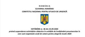 GUVERN: CNSU a hotărât suspendarea activităților în școlile in care sunt organizate secții de votare