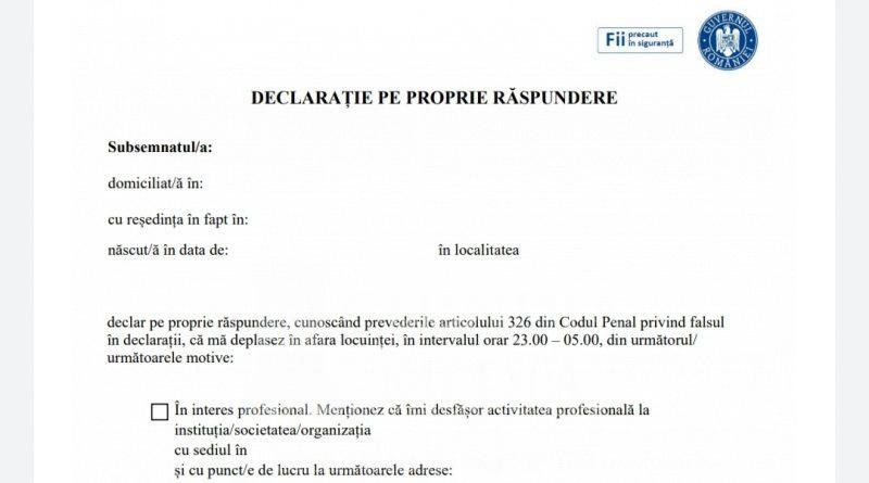 Modele oficiale pentru declarații și adeverinte necesare pentru deplasarea în afara locuinței în intervalul orar 23.00-05.00