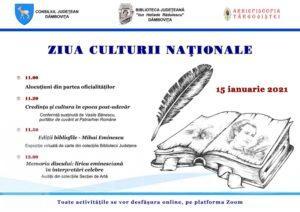 Biblioteca Județeană Dâmbovița serbează Ziua Culturii Naționale online